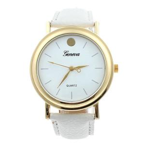 Простые круглые часы «Geneva» с циферблатом без цифр и белым ремешком купить. Цена 185 грн
