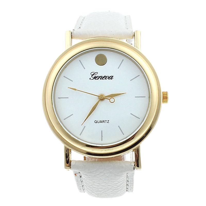 Простые круглые часы «Geneva» с циферблатом без цифр и белым ремешком купить. Цена 225 грн