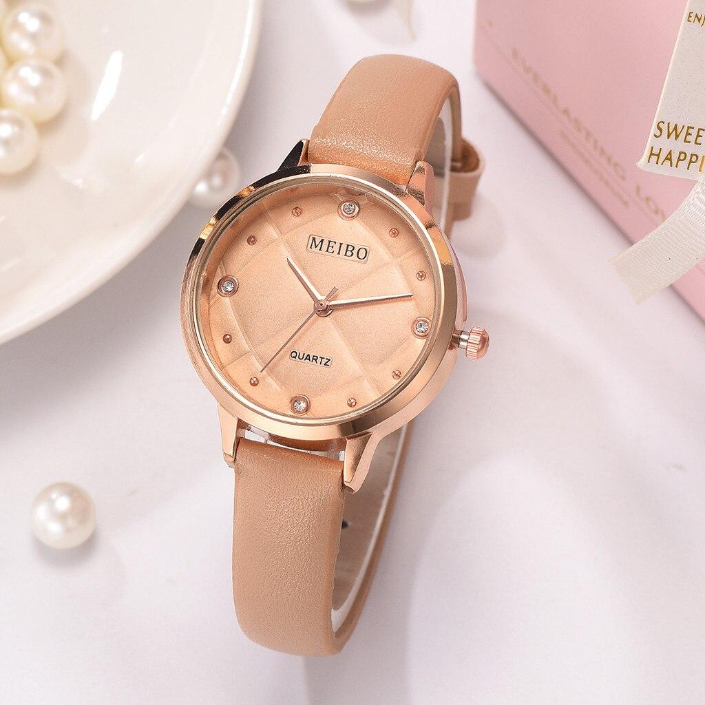 Небольшие круглые часы «Meibo» с циферблатом и ремешком кофейного цвета купить. Цена 265 грн
