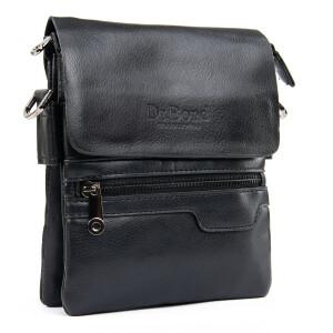 Небольшая мужская сумка «Dr.Bond» с клапаном на магнитах и змейкой на фасаде фото. Купить