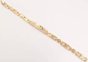 Чудесный браслет «Куско» с пластиной и звеньями с алмазной насечкой в позолоте купить. Цена 275 грн