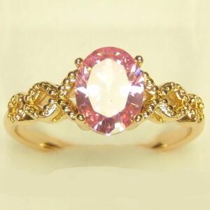 Светлое кольцо «Янина» с розовым фианитом в ажурной оправе купить. Цена 145 грн
