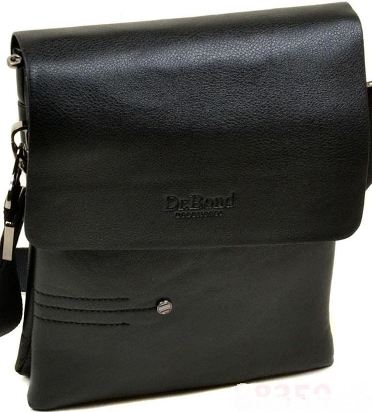 Отличная мужская сумка-планшет «Dr.Bond» из чёрной гладкой экокожи купить. Цена 599 грн