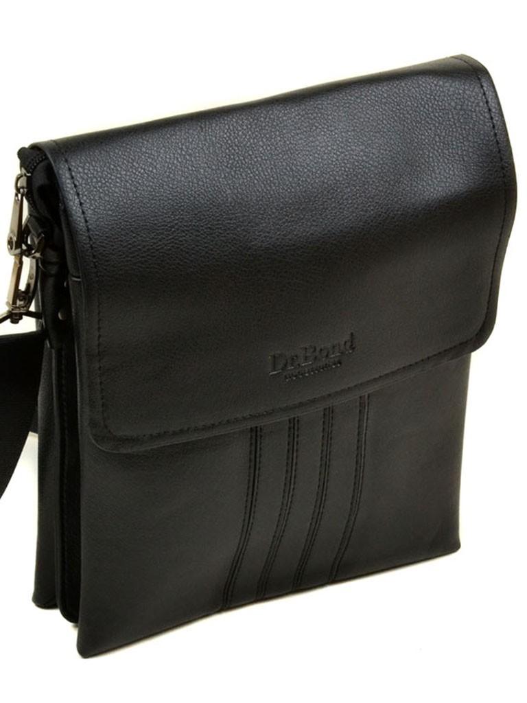Строгая мужская сумка-планшет «Dr.Bond» из гладкой экокожи чёрного цвета купить. Цена 599 грн