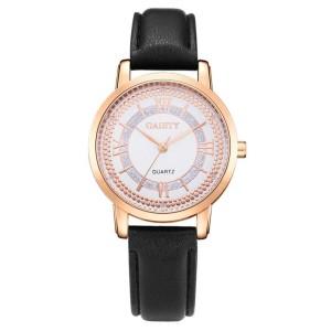 Красивые наручные часы «Gaiety» с черным ремешком, позолоченным корпусом и стразами фото. Купить