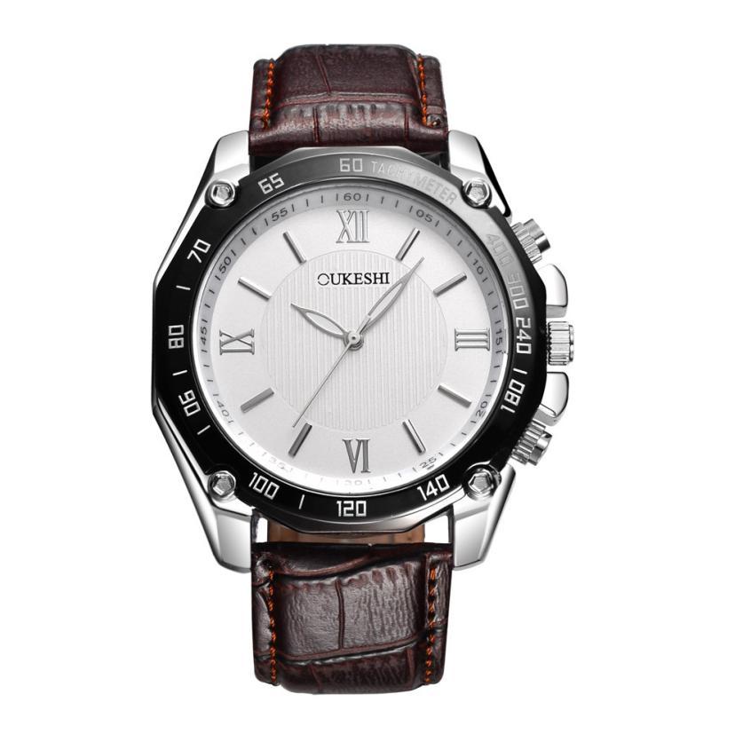 Роскошные часы «Oukeshi» крупного размера с коричневым ремешком купить. Цена 375 грн