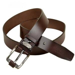 Гладкий кожаный ремень «Diesel» коричневого цвета с красивой пряжкой купить. Цена 385 грн