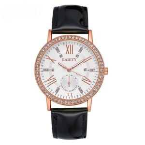 Классические круглые часы «Gaiety» с секундной стрелкой и чёрным ремешком купить. Цена 235 грн