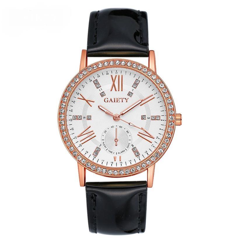 Классические круглые часы «Gaiety» с секундной стрелкой и чёрным ремешком купить. Цена 275 грн