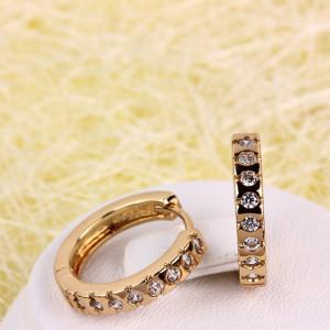 Маленькие серьги-кольца «Россыпи» с золотым покрытием и бесцветными цирконами купить. Цена 150 грн