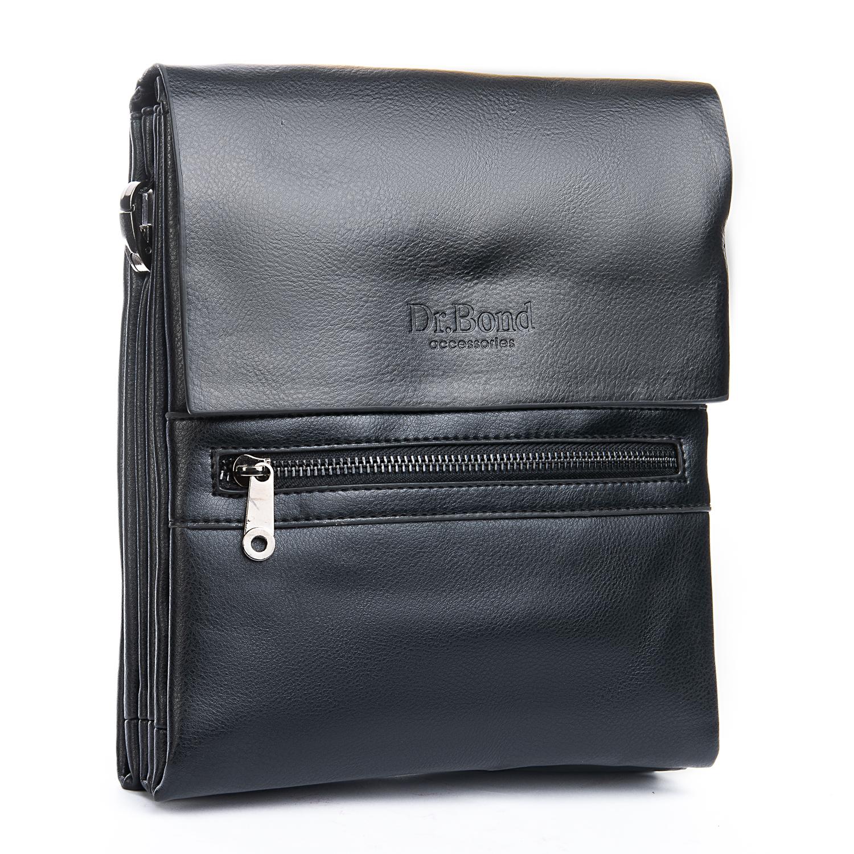 Качественная мужская сумка «Dr.Bond» из чёрной гладкой искусственной кожи купить. Цена 565 грн