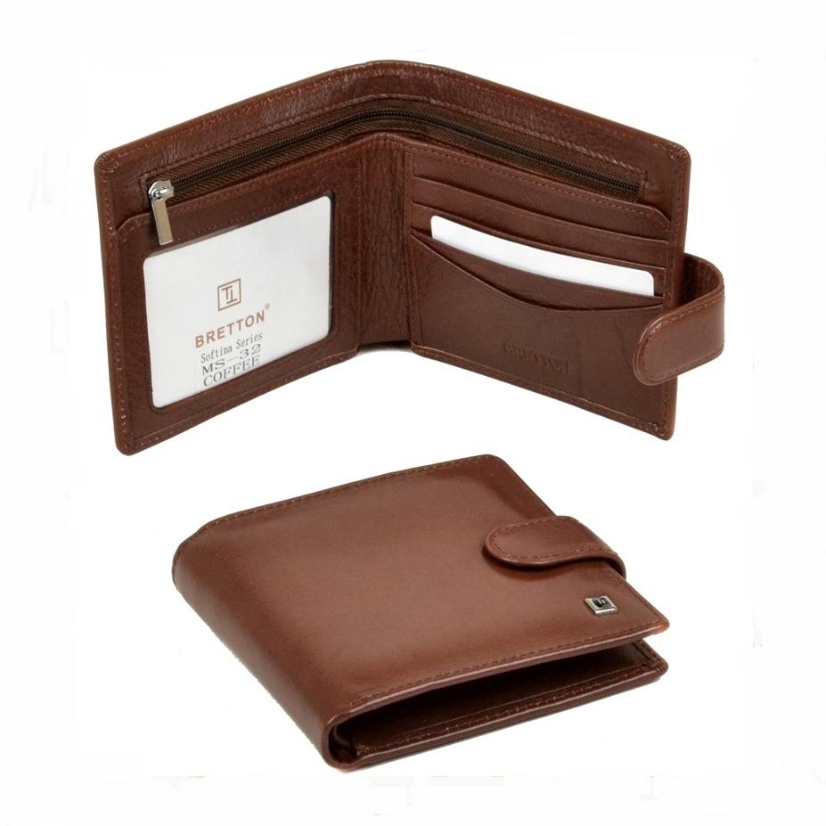 Строгий мужской бумажник «Bretton» из качественной глянцевой кожи купить. Цена 785 грн