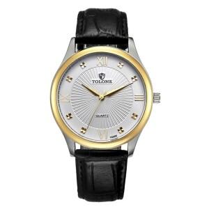 Деловые мужские часы «Tolone» с двухцветным корпусом и чёрным ремешком купить. Цена 390 грн