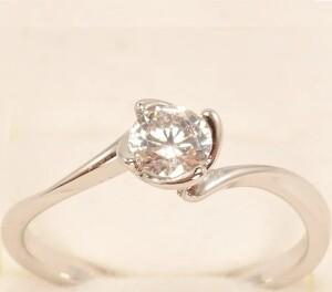 Простое кольцо «Инесса в белом» с круглым камушком в родиевой оправе купить. Цена 110 грн