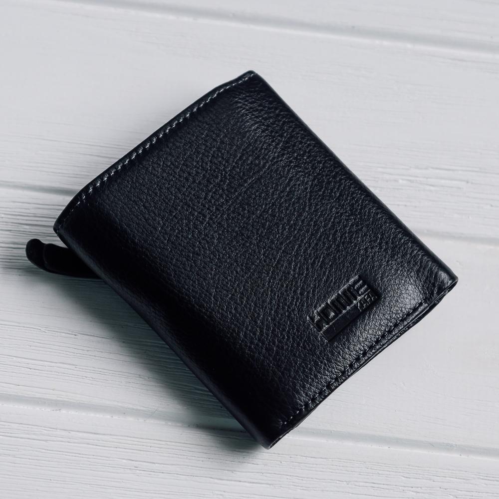 Компактный бумажник «KAFA» тройного сложения из мягкой чёрной кожи купить. Цена 685 грн