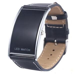 Красивые часы «Geneva LED» прямоугольной формы с чёрным ремешком купить. Цена 235 грн