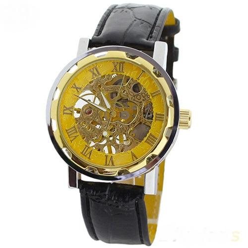 Элегантные часы-скелетоны «Winner» в двухцветном корпусе с чёрным ремешком купить. Цена 799 грн