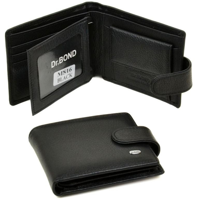 Чёрный бумажник «Dr.Bond» компактного размера из натуральной кожи купить. Цена 499 грн