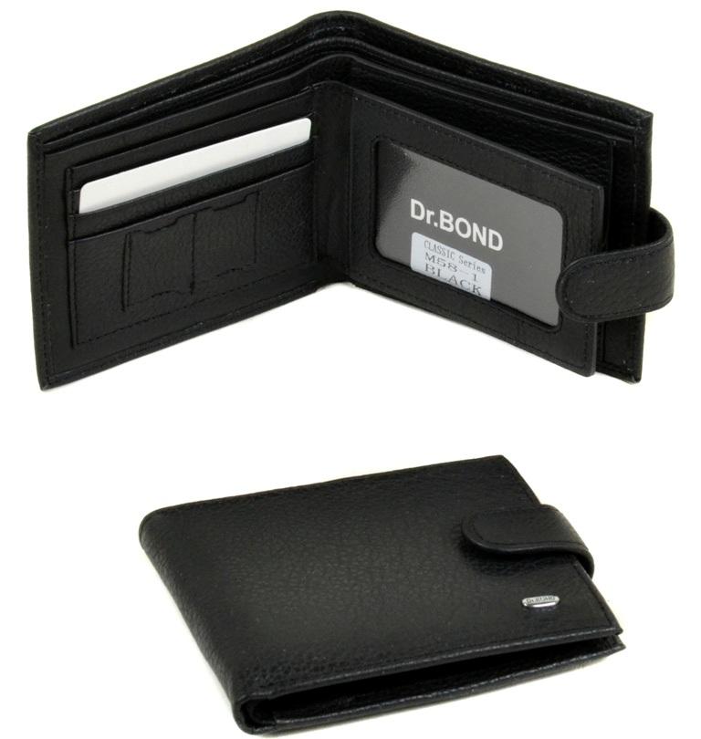 Деловой мужской бумажник «Dr.Bond» из чёрной кожи в классическом исполнении купить. Цена 575 грн