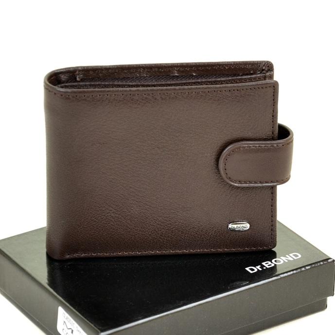 Лаконичный мужской бумажник «Dr.Bond» из мягкой коричневой кожи купить. Цена 499 грн