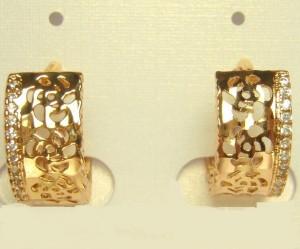 Нежные серьги «Розетта» из гипоаллергенного сплава с золотым напылением фото. Купить