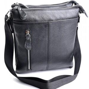 Чёрная мужская сумка «Laras» из мягкой натуральной кожи на змейках купить. Цена 1490 грн