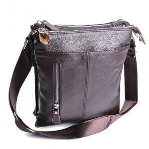 Мягкая кожаная сумка «Laras» коричневого цвета с отделениями на молнии купить. Цена 1490 грн