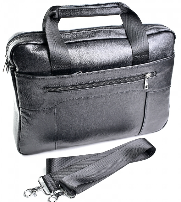Крупная мужская сумка «Laras» для документов из чёрной натуральной кожи купить. Цена 1790 грн