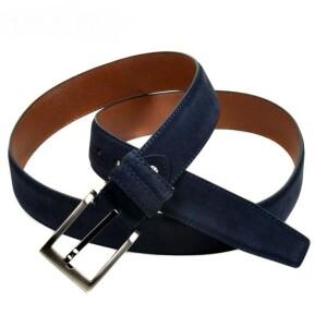 Брючный ремень «Alon» синего цвета из натуральной замши купить. Цена 490 грн