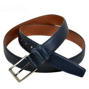 Фактурный ремень «Alon» из натуральной кожи синего цвета купить. Цена 430 грн