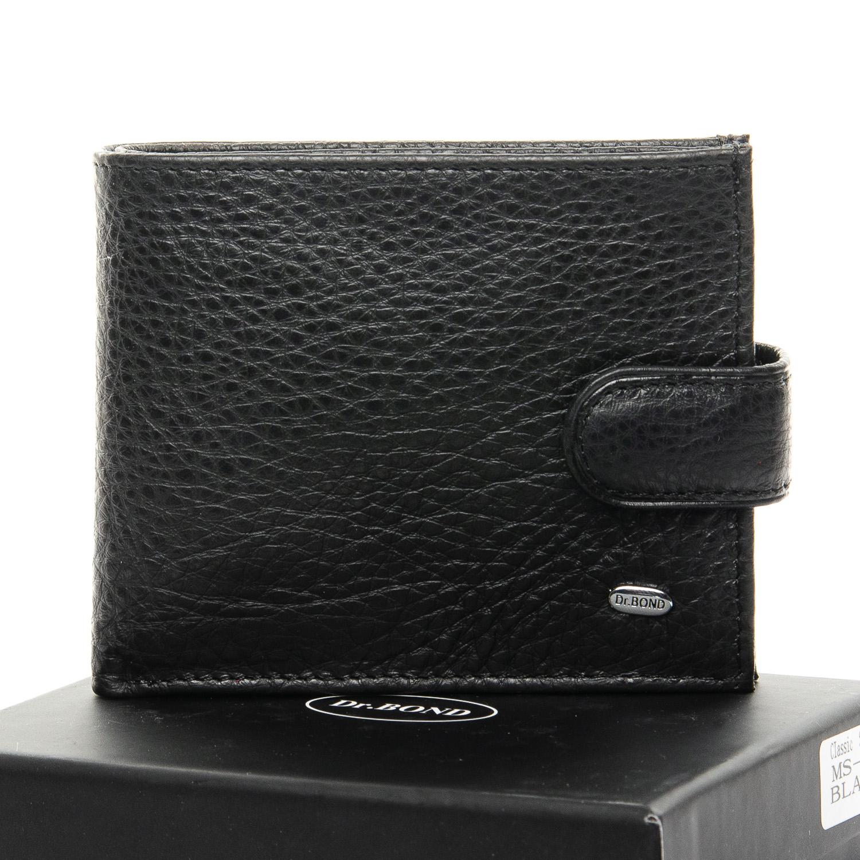 Мягкий мужской бумажник «Dr.Bond» из чёрной кожи с естественной текстурой купить. Цена 598 грн
