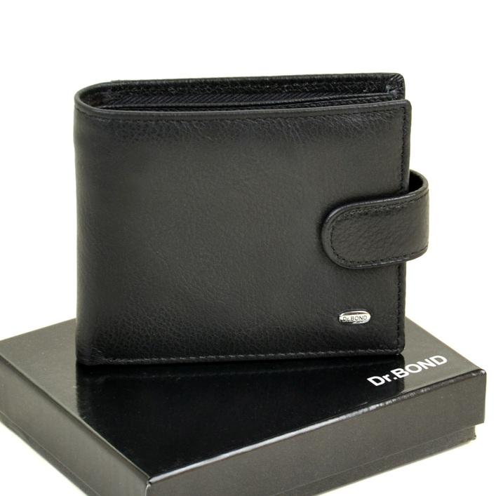 Кожаный бумажник «Dr.Bond» чёрного цвета с зажимом для денег купить. Цена 597 грн
