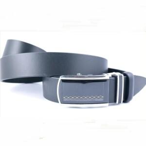 Простой кожаный ремень «Andro» чёрного цвета с автоматической пряжкой купить. Цена 390 грн