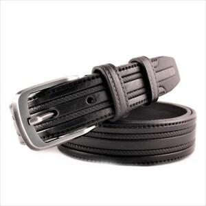 Классический чёрный кожаный ремень «Millenium» с красивым тиснением фото. Купить
