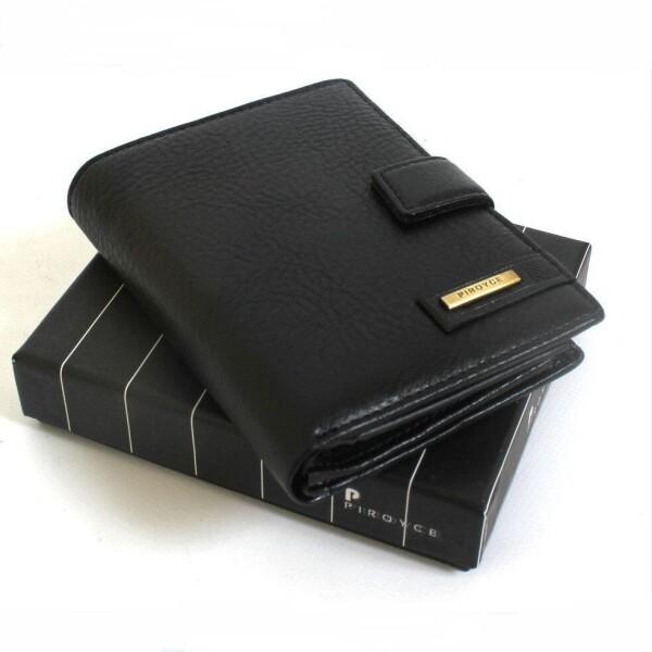 Недорогое мужское портмоне «Piroyce» из плотной спил-кожи чёрного цвета купить. Цена 399 грн