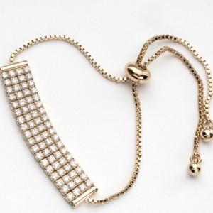 Молодёжный позолоченный браслет с планкой из страз и застёжкой-бегунком фото. Купить