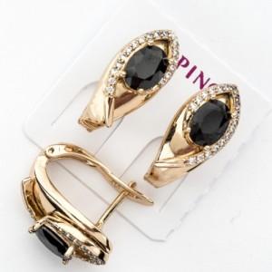 Изящные серьги «Реверанс» с чёрным кристаллом и золотым напылением купить. Цена 185 грн