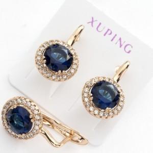 Круглые серьги «Ривьера» классической формы с синим камнем в позолоченной оправе фото. Купить