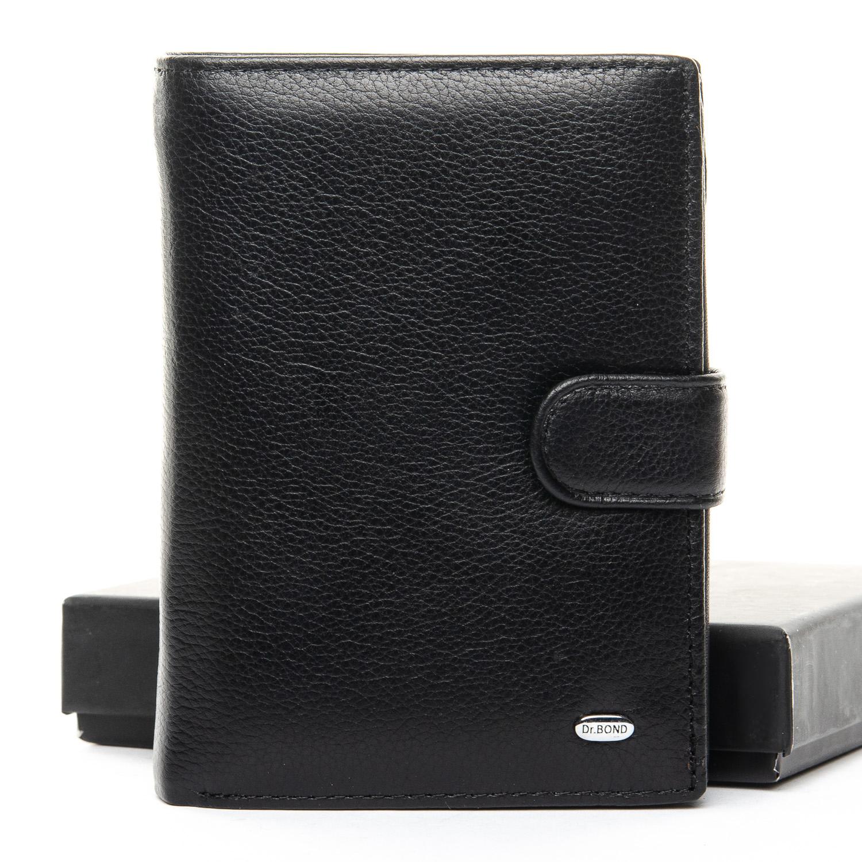 Чёрное кожаное портмоне «Dr.Bond» с файликами для документов купить. Цена 698 грн
