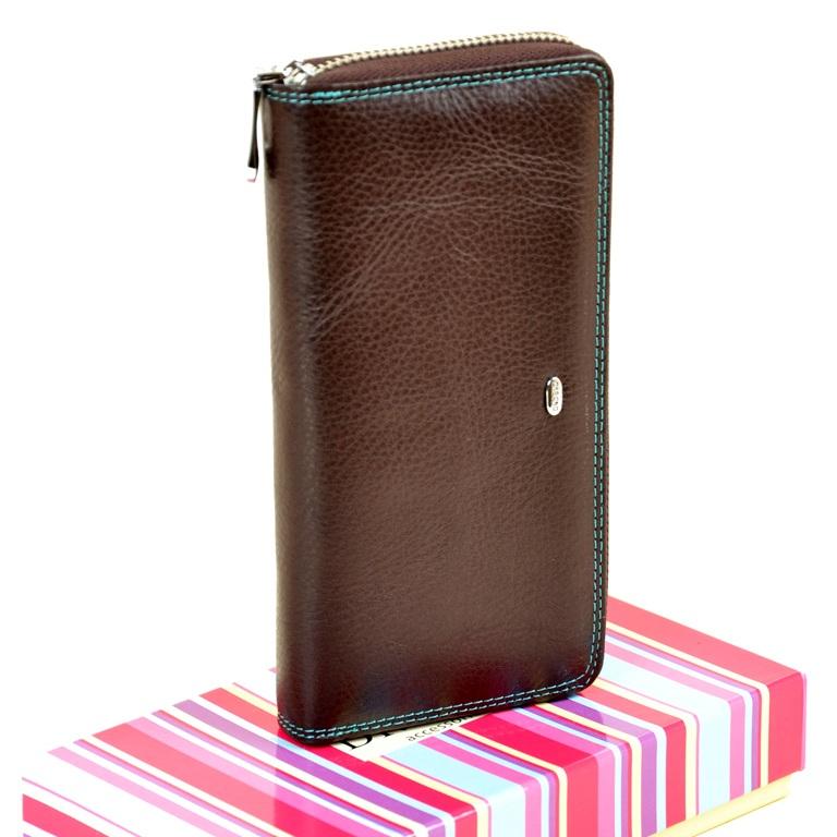 Классический кошелёк «Dr.Bond» на молнии из натуральной коричневой кожи купить. Цена 785 грн