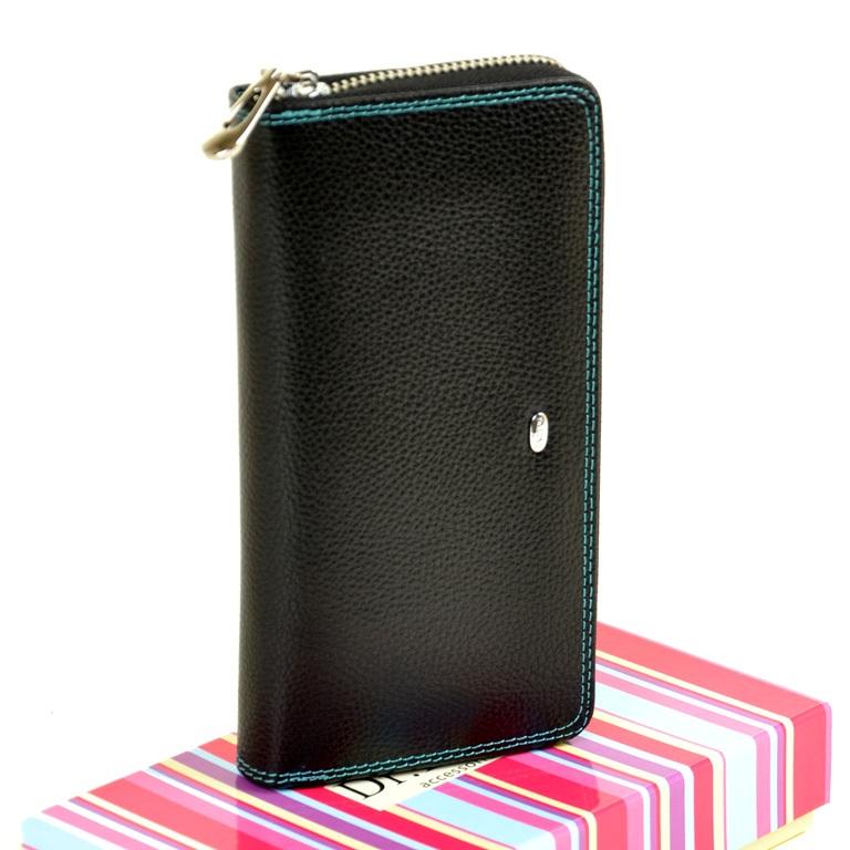 Солидный женский кошелёк «Dr.Bond» из чёрной кожи с цветной вставкой купить. Цена 785 грн