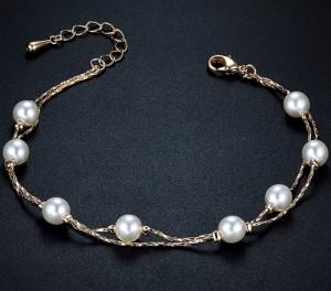 Модный браслет «Перегрина» (бренд-ITALINA) в виде тонкой позолоченной цепочки с белыми жемчужинами купить. Цена 260 грн
