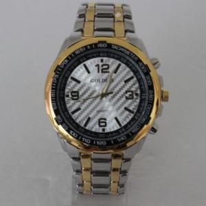 Простые мужские часы «Highway» из нержавеющей стали серебряного цвета с золотым ободком фото. Купить