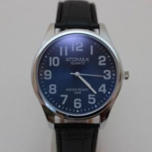 Кварцевые часы для мужчин «Atomax» с синим циферблатом и чёрным ремешком фото. Купить