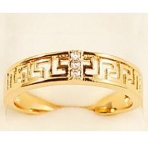 Простое кольцо «Меандра» с греческой дорожкой и золотым напылением купить. Цена 135 грн