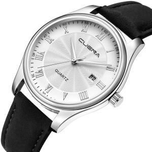 Мужские кварцевые часы «Cuena» с римскими цифрами на серебряном циферблате купить. Цена 399 грн