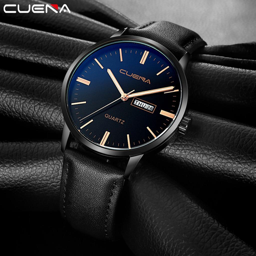 Строгие мужские часы «Cuena» чёрного цвета с календарём купить. Цена 399 грн