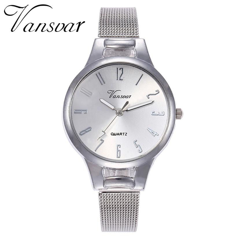 Элегантные часы «Vansvar» серебряного цвета с металлическим ремешком-кольчугой купить. Цена 290 грн