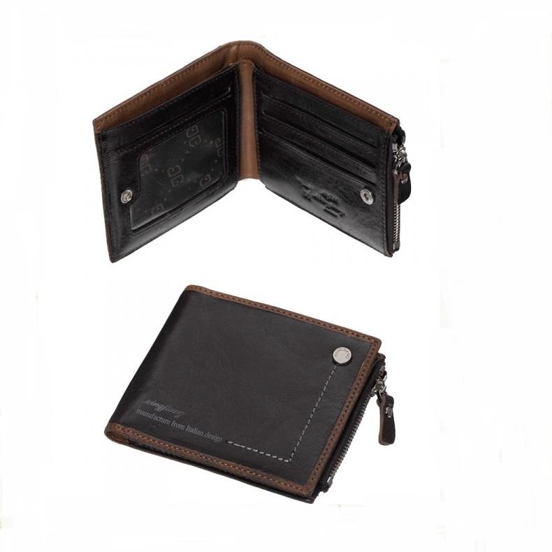 Тонкий бумажник «Pilusi» на кнопке из коричневой натуральной кожи купить. Цена 665 грн