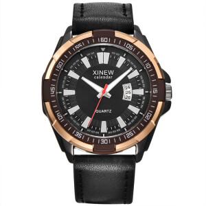 Крупные мужские часы «Xinew» с двухцветным корпусом и коричневым ремешком купить. Цена 399 грн